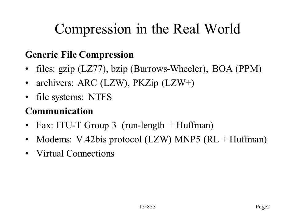 Compression in the Real World