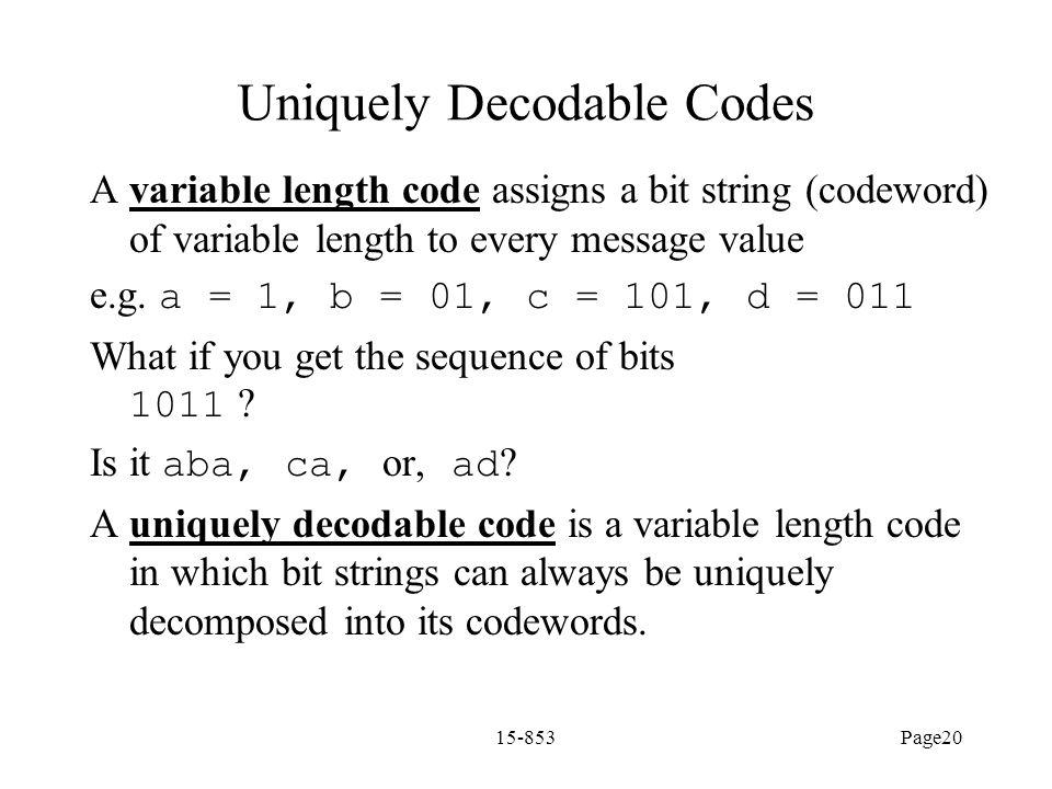 Uniquely Decodable Codes