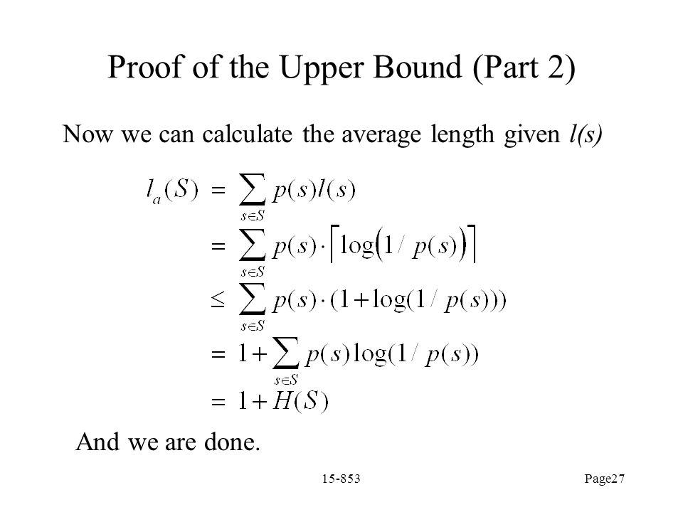 Proof of the Upper Bound (Part 2)