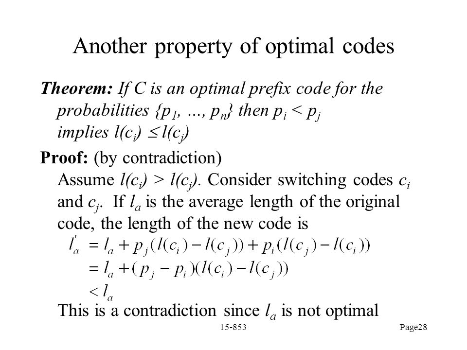 Another property of optimal codes