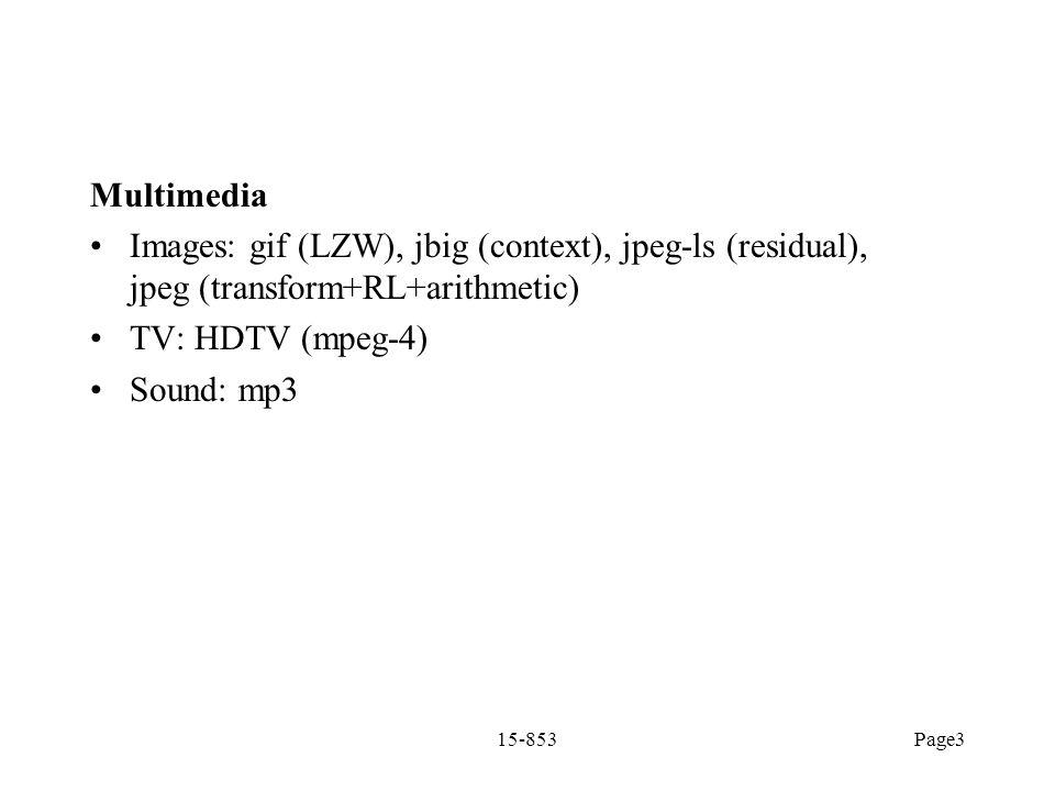 Multimedia Images: gif (LZW), jbig (context), jpeg-ls (residual), jpeg (transform+RL+arithmetic) TV: HDTV (mpeg-4)