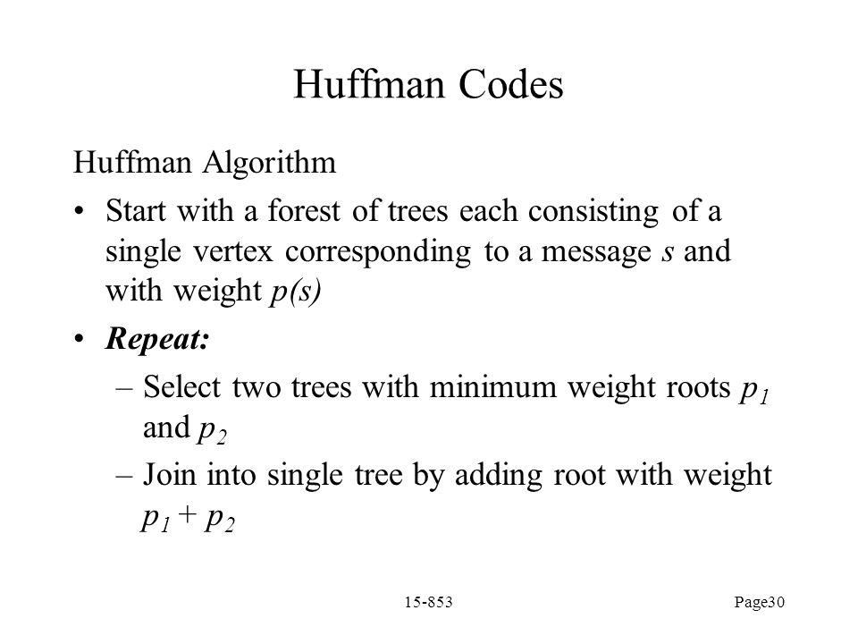 Huffman Codes Huffman Algorithm