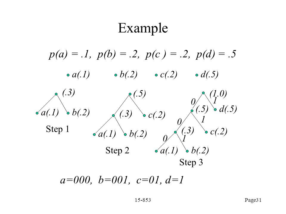 p(a) = .1, p(b) = .2, p(c ) = .2, p(d) = .5
