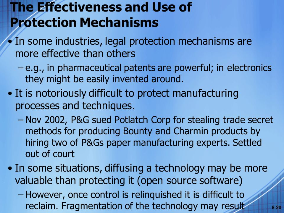 The Effectiveness and Use of Protection Mechanisms
