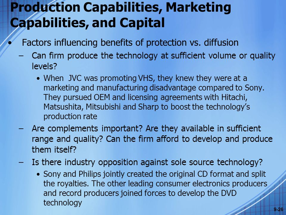 Production Capabilities, Marketing Capabilities, and Capital