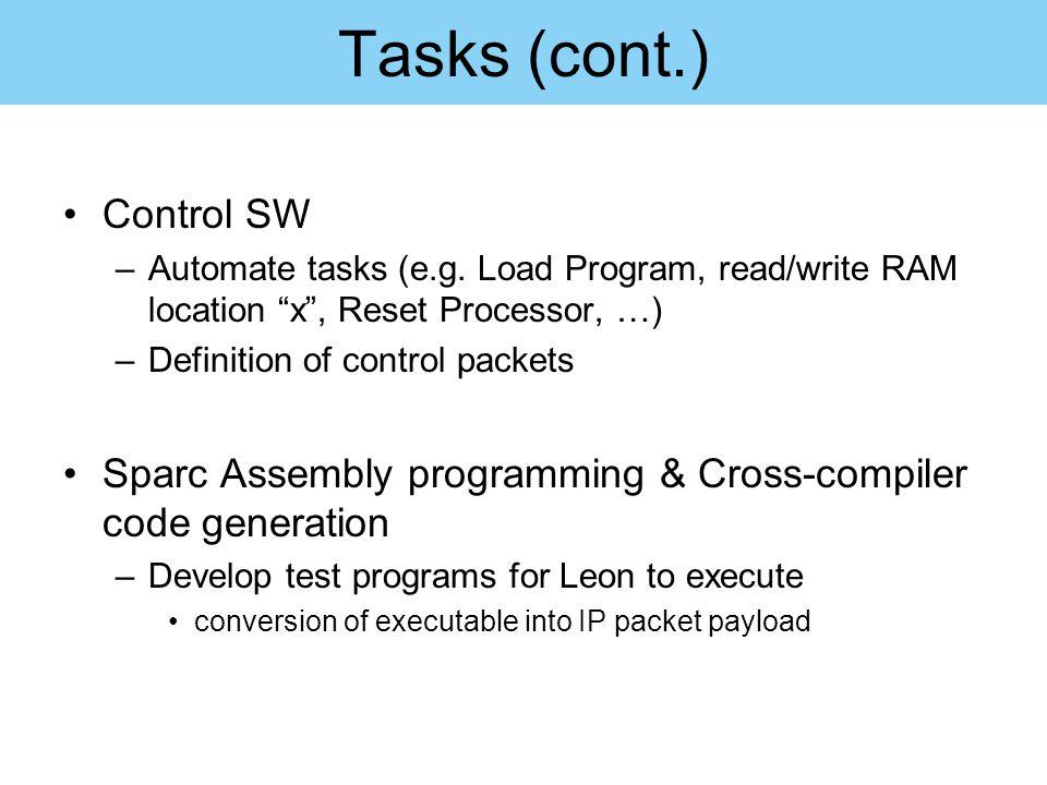 Tasks (cont.) Control SW