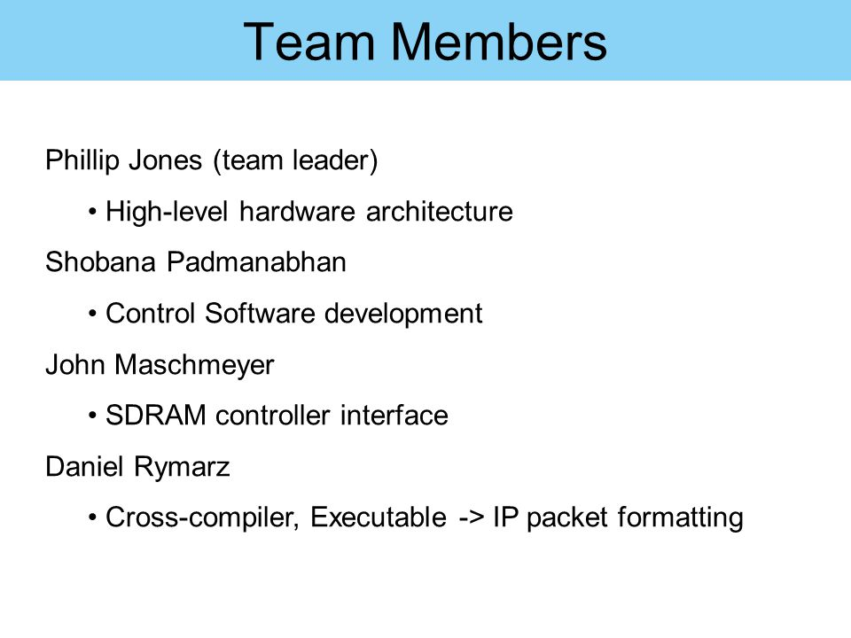 Team Members Phillip Jones (team leader)