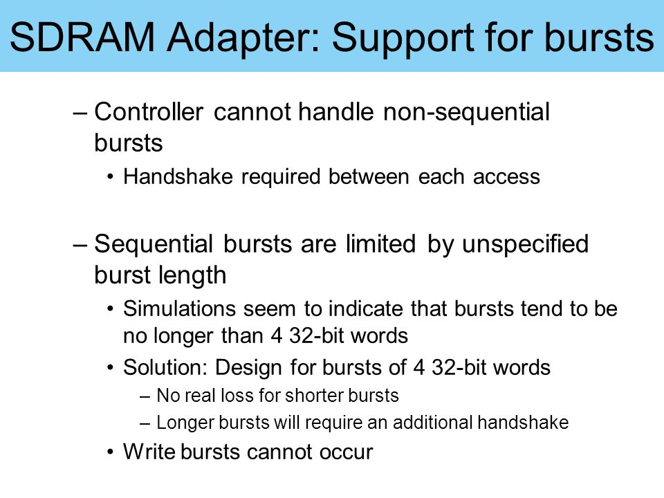 SDRAM Adapter: Support for bursts