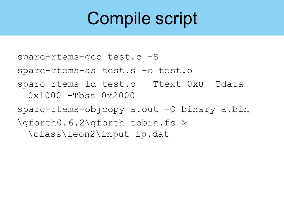Compile script sparc-rtems-gcc test.c -S