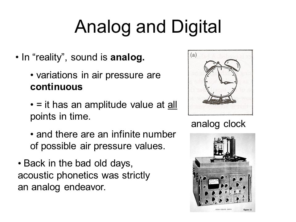 Analog and Digital In reality , sound is analog.