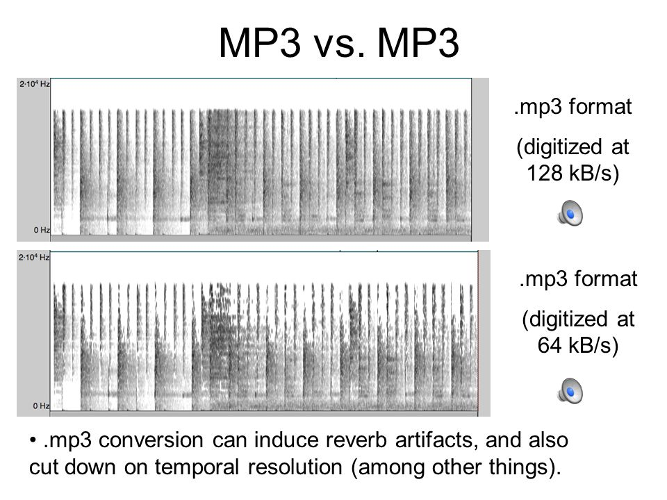 MP3 vs. MP3 .mp3 format (digitized at 128 kB/s) .mp3 format