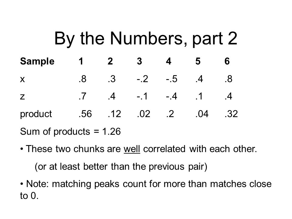 By the Numbers, part 2 Sample 1 2 3 4 5 6 x .8 .3 -.2 -.5 .4 .8
