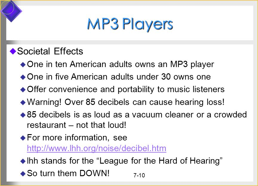 MP3 Players Societal Effects