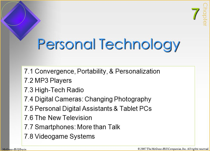 7 Personal Technology 7.1 Convergence, Portability, & Personalization