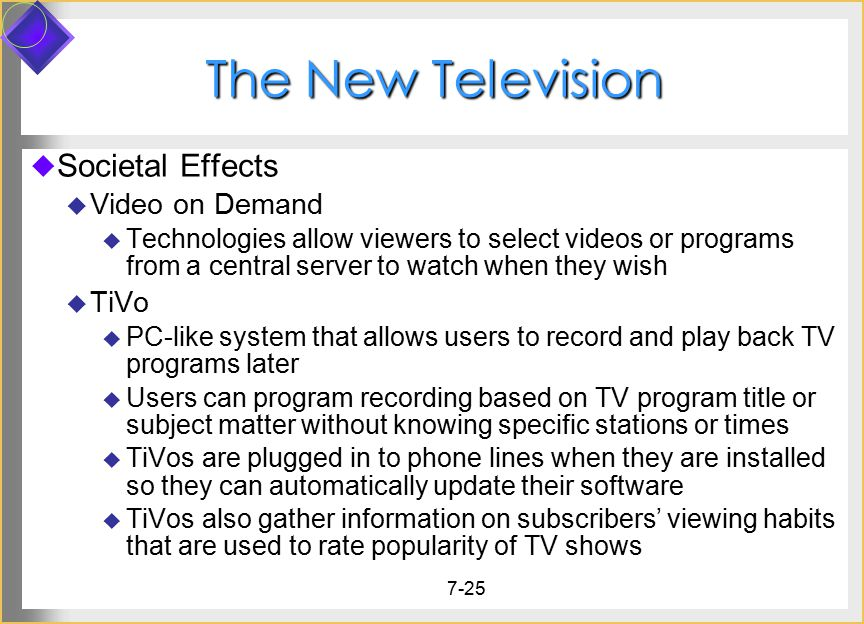 The New Television Societal Effects Video on Demand TiVo