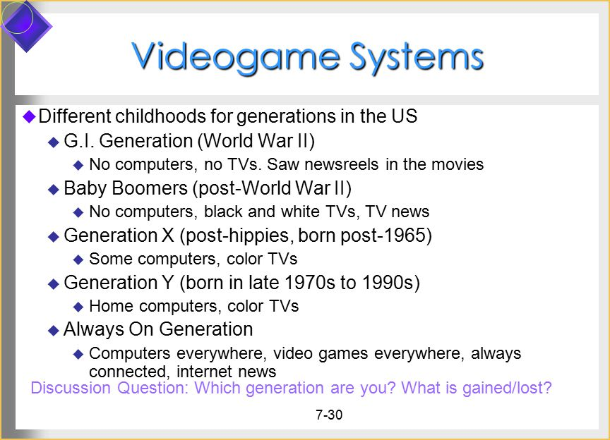 Videogame Systems Different childhoods for generations in the US