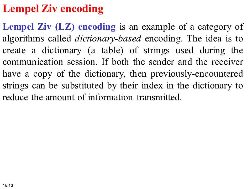 Lempel Ziv encoding