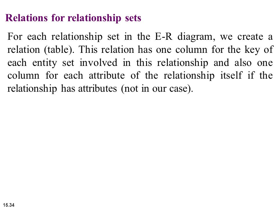 Relations for relationship sets