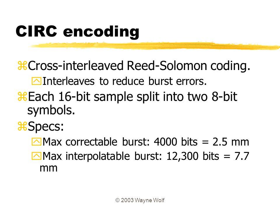 CIRC encoding Cross-interleaved Reed-Solomon coding.