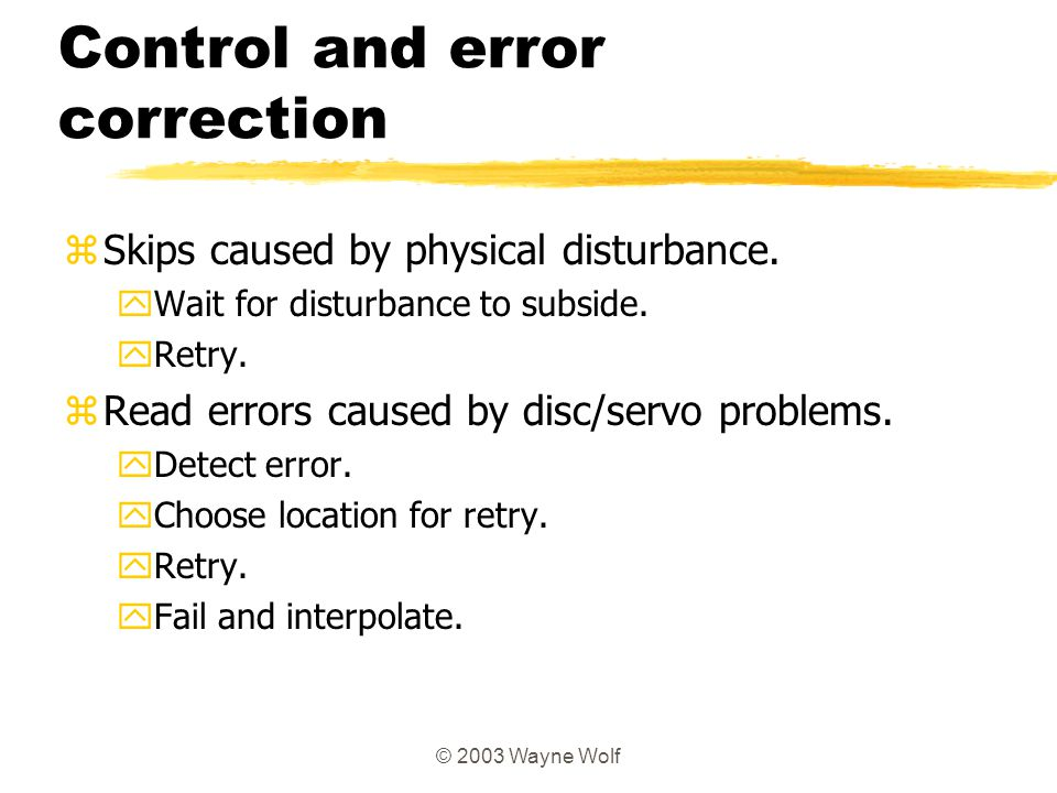 Control and error correction