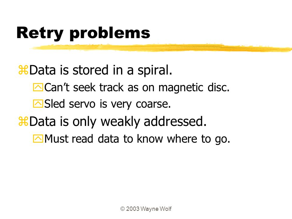 Retry problems Data is stored in a spiral.