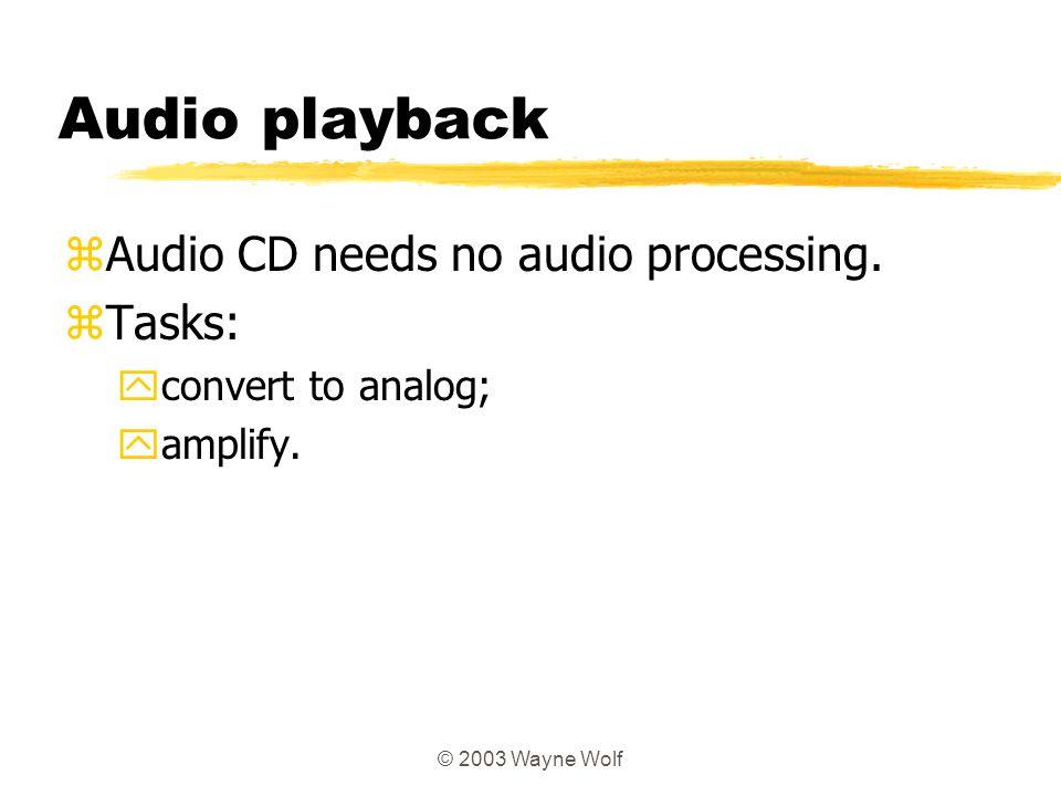 Audio playback Audio CD needs no audio processing. Tasks: