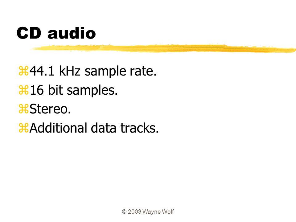 CD audio 44.1 kHz sample rate. 16 bit samples. Stereo.