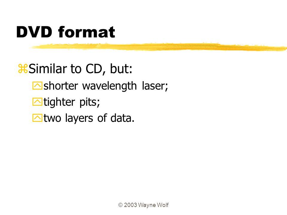 DVD format Similar to CD, but: shorter wavelength laser; tighter pits;