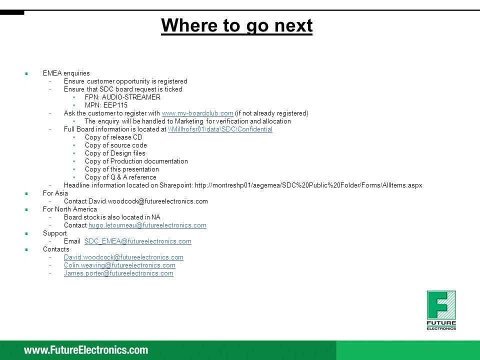 Where to go next EMEA enquiries