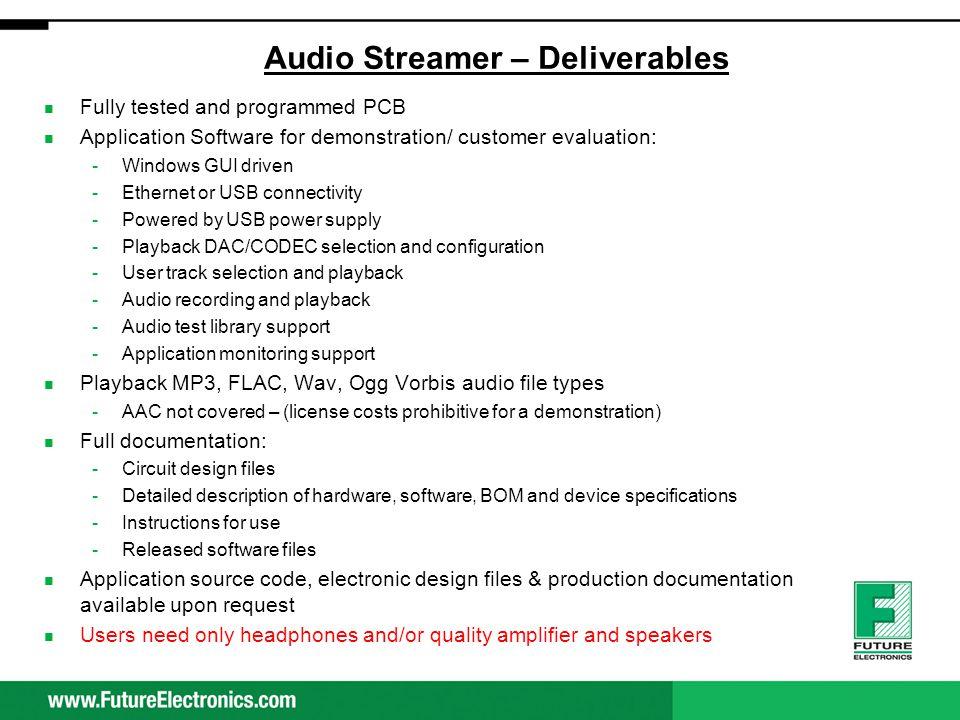 Audio Streamer – Deliverables