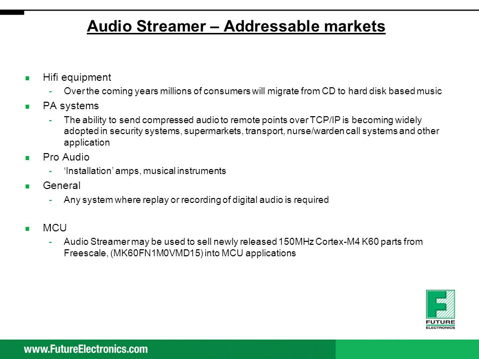 Audio Streamer – Addressable markets