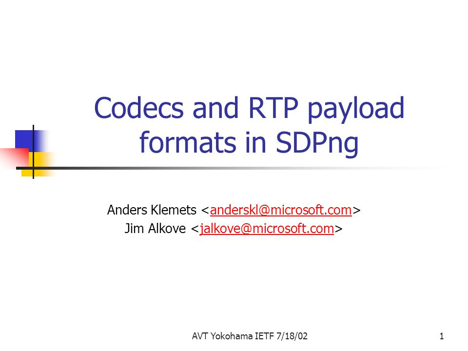 Codecs and RTP payload formats in SDPng