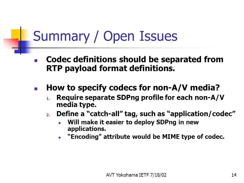 Summary / Open Issues Codec definitions should be separated from RTP payload format definitions. How to specify codecs for non-A/V media