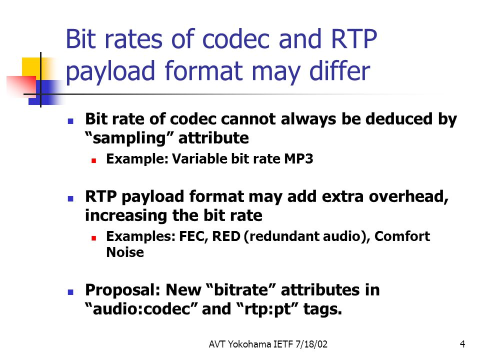 Bit rates of codec and RTP payload format may differ