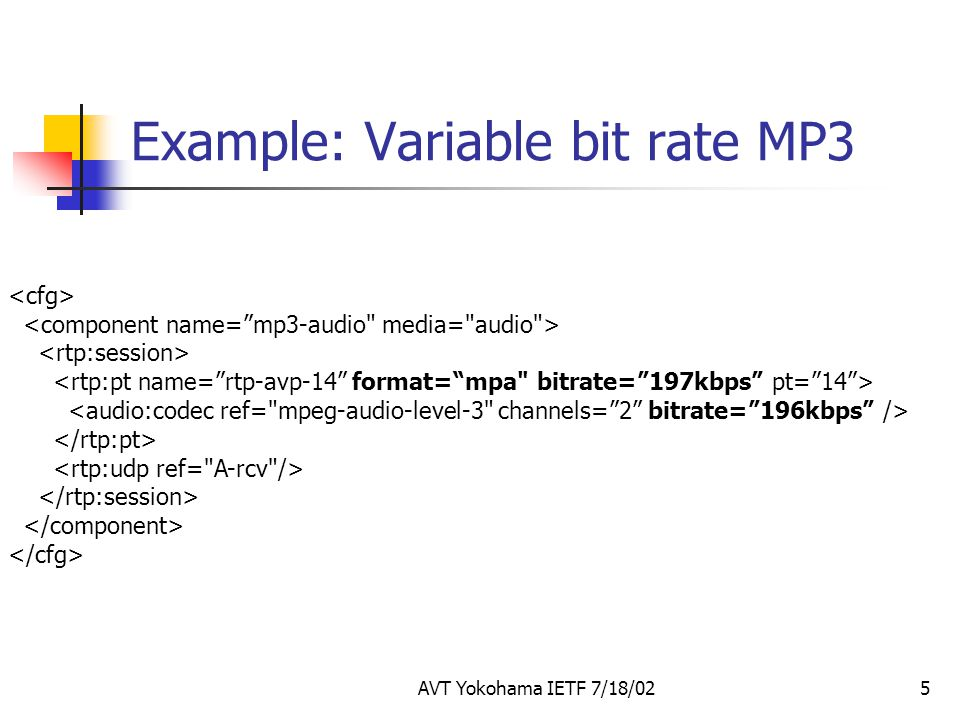Example: Variable bit rate MP3