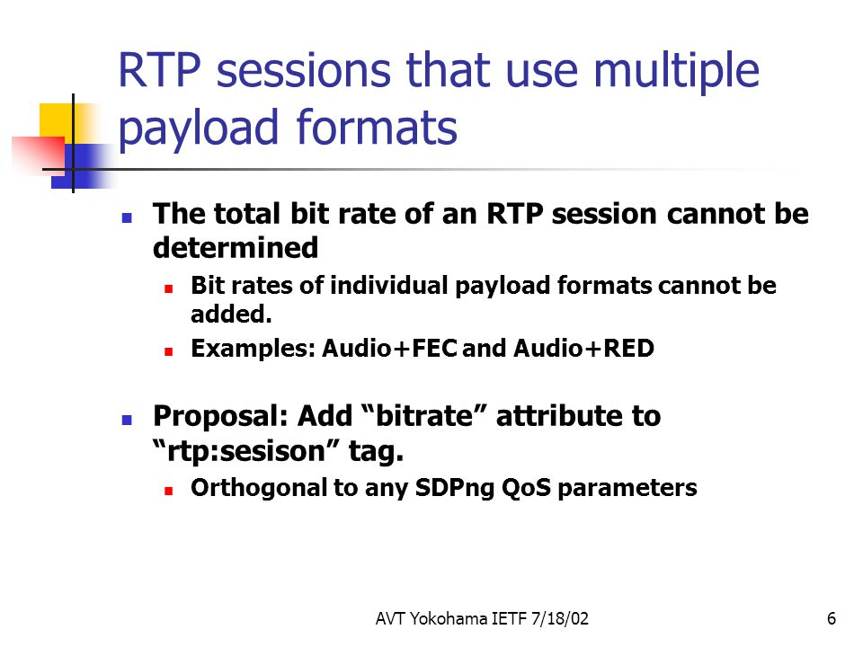 RTP sessions that use multiple payload formats