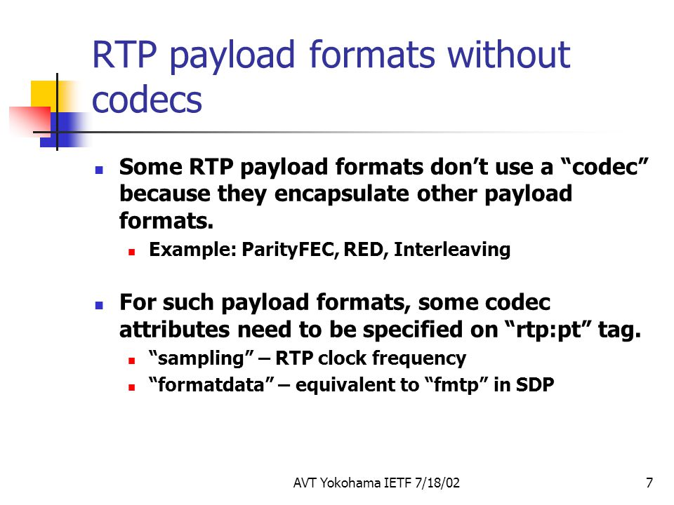 RTP payload formats without codecs