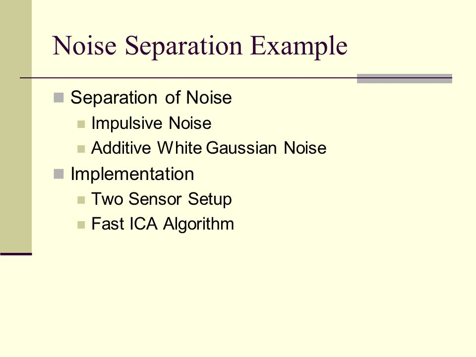 Noise Separation Example