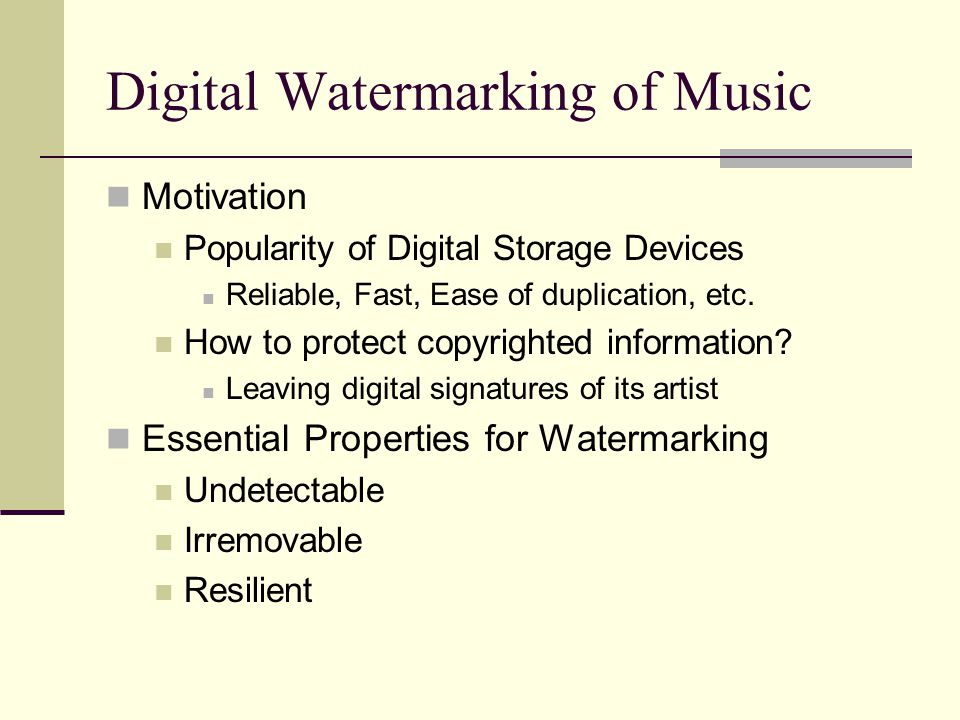 Digital Watermarking of Music