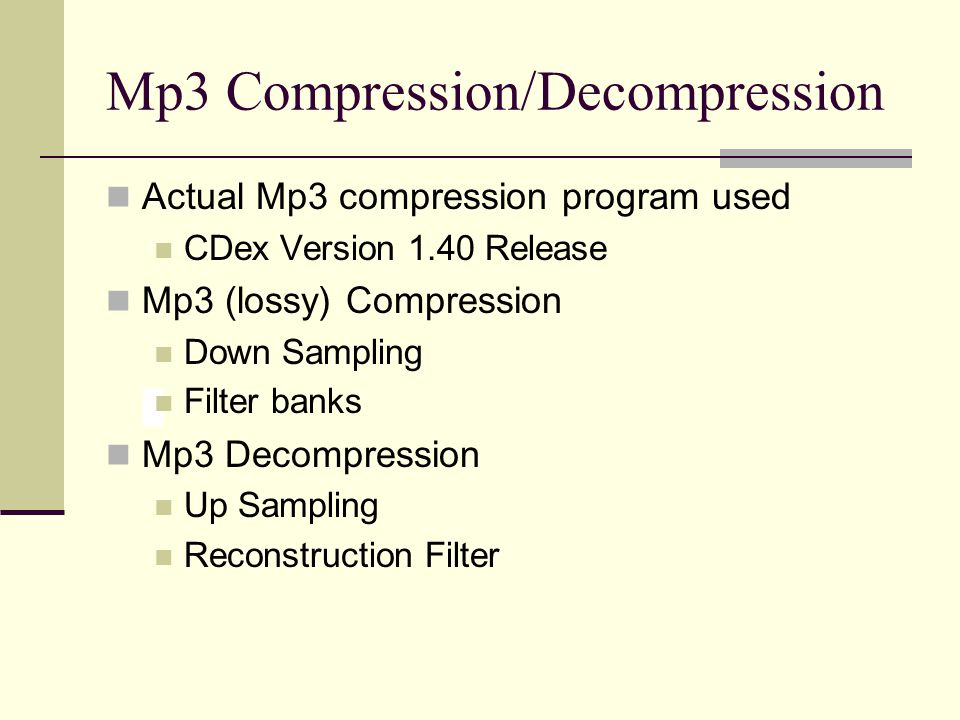 Mp3 Compression/Decompression