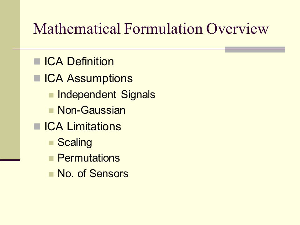 Mathematical Formulation Overview