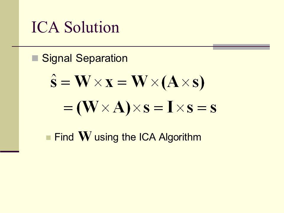ICA Solution Signal Separation Find using the ICA Algorithm