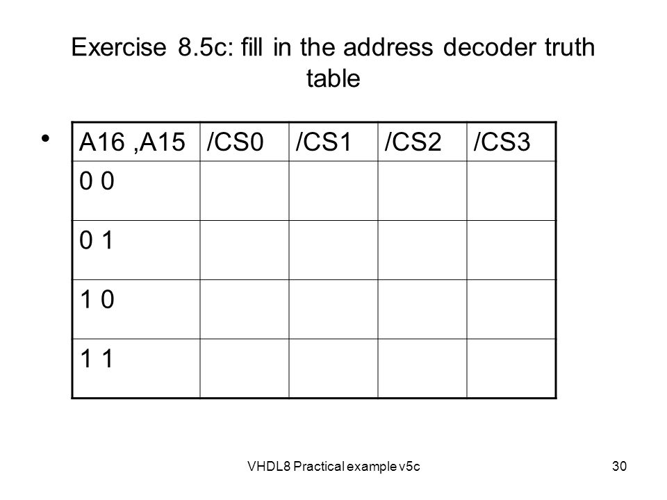Exercise 8.5c: fill in the address decoder truth table
