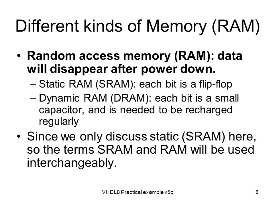 Different kinds of Memory (RAM)