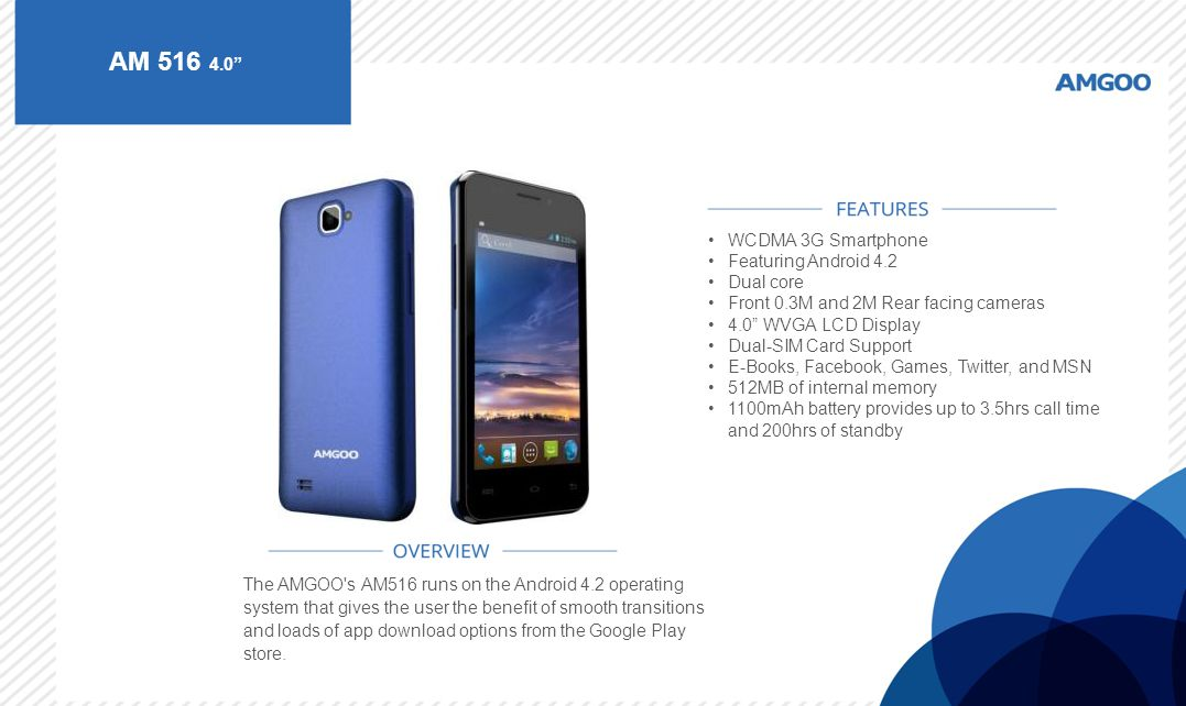 AM 516 4.0 WCDMA 3G Smartphone Featuring Android 4.2 Dual core