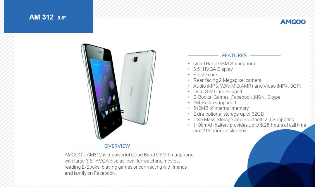AM 312 3.5 Quad Band GSM Smartphone 3.5 HVGA Display Single core