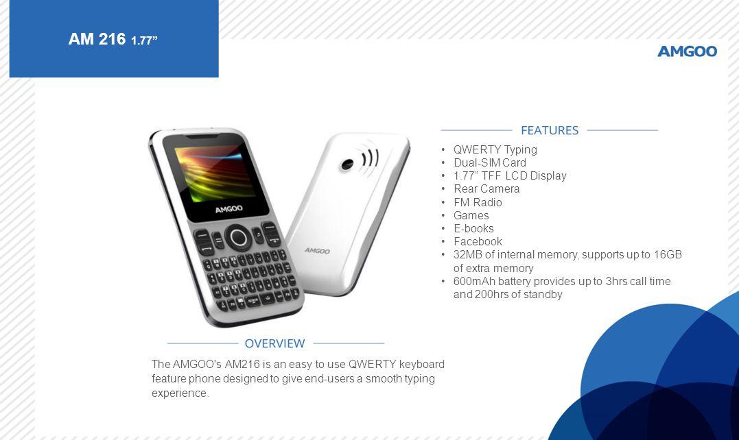 AM 216 1.77 QWERTY Typing Dual-SIM Card 1.77 TFF LCD Display