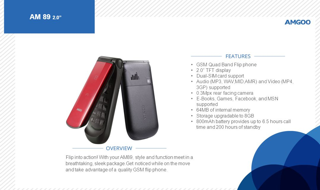 AM 89 2.0 GSM Quad Band Flip phone 2.0 TFT display