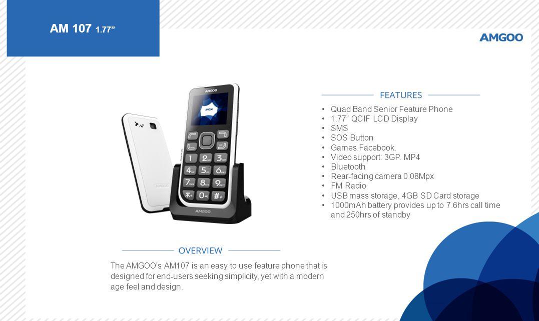 AM 107 1.77 Quad Band Senior Feature Phone 1.77 QCIF LCD Display SMS