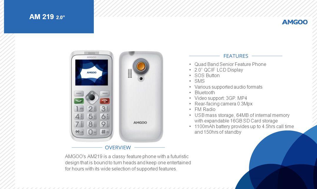 AM 219 2.0 Quad Band Senior Feature Phone 2.0 QCIF LCD Display